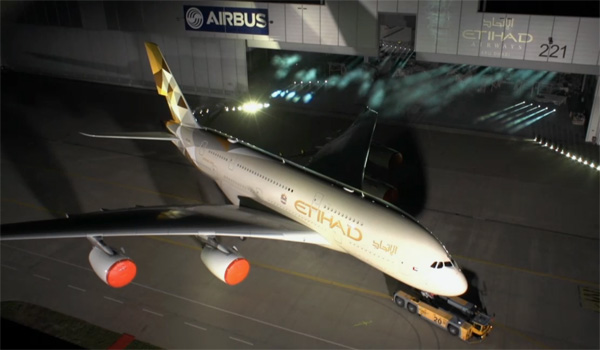 Etihad Airways unveils new livery on first Airbus A380