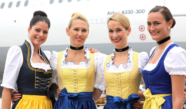 Lufthansa crew in traditional Bavarian dresses