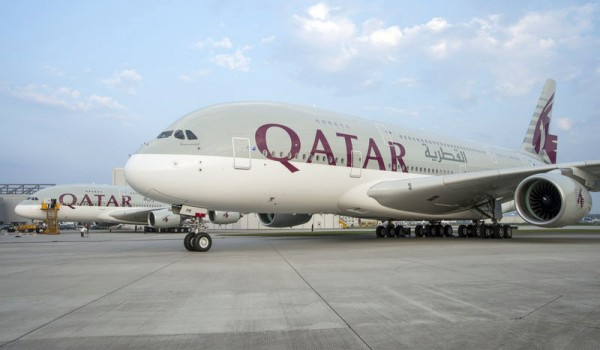 Qatar Airways Airbus A380 at Airbus factory in Hamburg