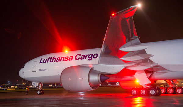 Lufthansa Cargo Boeing 777F on the apron in Frankfurt
