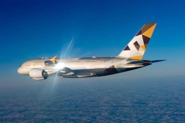 Etihad Airways Airbus A380 in flight