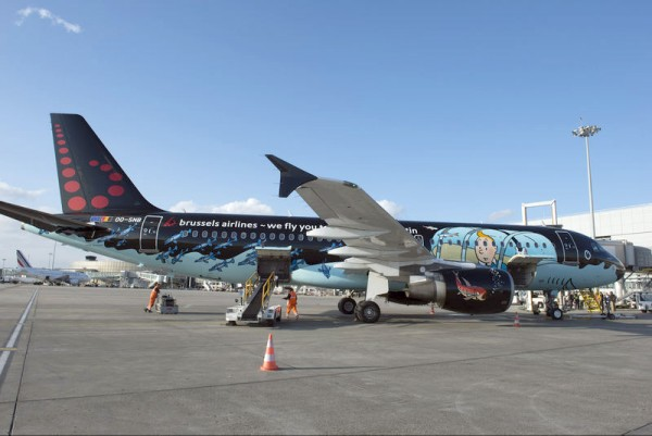 Airbus A320 of Brussels Airlines in special Tintin livery (© Airbus)