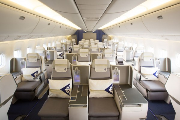 Air Astana Boeing 767-300ER BUsiness class cabin (© Air Astana)