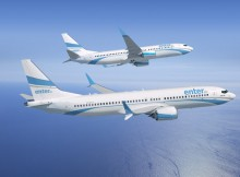 Boeing 737 MAX 8 (in front) and 737-800 in the livery of Enter Air (© Boeing)