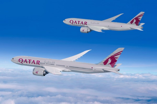 Boeing 777-8X and 777F in the livery of Qatar Airways (© Boeing)