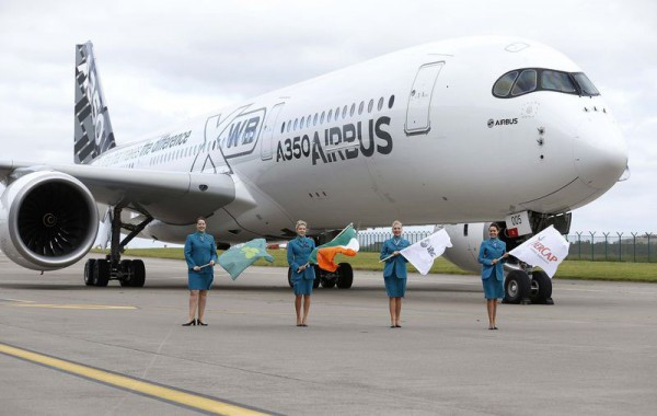 The A350 XWB's maiden visit Ireland was for an event jointly hosted by AerCap, Aer Lingus; IDA Ireland, and the Dublin Airport Authority