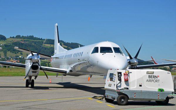 Saab 2000 am Flughafen Bern-Belp (© SkyWork Airlines)