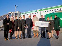 Erstflug von Düsseldorf nach Kittilä am 29.12. 2016 (© Germania)